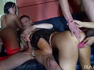 mature,group sex,stockings