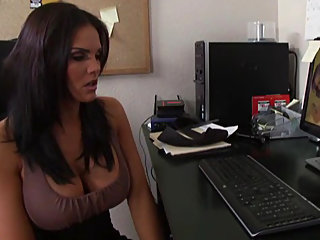 big tits,brunette,office