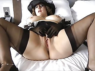 cumshot,mature,stockings